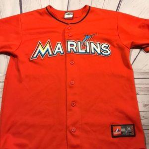 Youth Large Miami Marlins Jersey Orange Boys Shirt